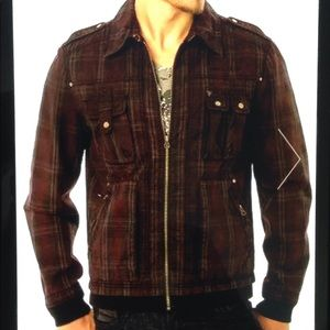 Guess International Plaid Cotton Lined Zip Jacket
